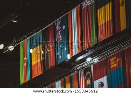 National flags hanging at a sporting competition (World championships) in a indoor stadium or arena with a black background. #1553345612