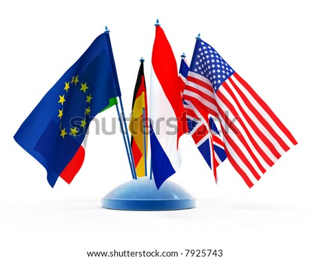 National flags of different world countries isolated 3d illustration