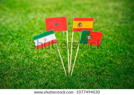 National Flags of Portugal, Spain, Morocco, IR Iran. Flags on green grass on football stadium #1077494030