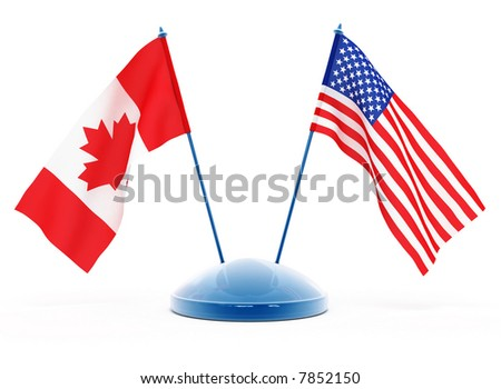 National flags of USA and Canada isolated 3d illustration