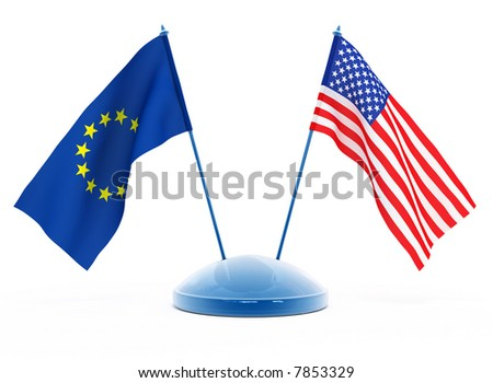 National flags of USA and European Union isolated 3d illustration
