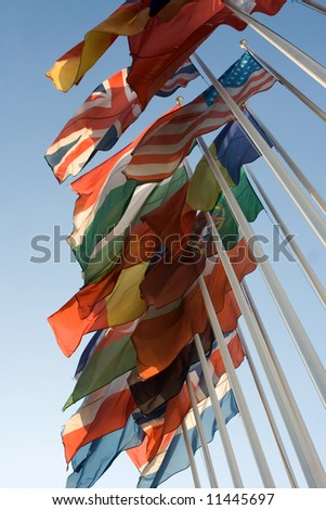 national flags on blue sky