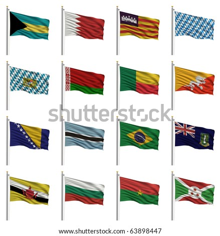 National flags with the letter B - Bahamas, Bahrain, Balearic Islands, Bavaria, Belarus, Benin, Bhutan, Bosnia, Botswana, Brazil, British Virgin Islands, Brunei, Bulgaria, Burkina Faso, Burundi
