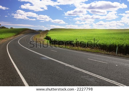 National freeway near sugar cane in Queensland - Australia