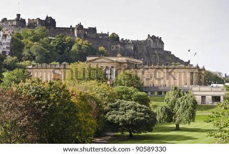 National Gallery and Edinburgh Castle from Waverley Bridge, Edinburgh, Scotland