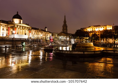 National Gallery and Trafalgar Square in the Night, London, United Kingdom