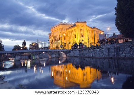National library,in Sarajevo, capital city of Bosnia and Herzegovina, at night