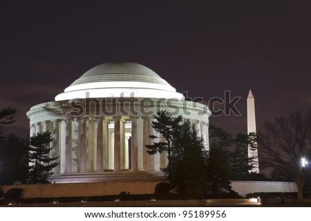 National Mall, Thomas Jefferson Memorial and Washington Monument at night, Washington DC, United States of America
