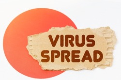 National medicine concept. On the flag of Japan lies a notebook with the inscription - VIRUS SPREAD