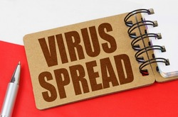 National medicine concept. On the flag of Poland lies a notebook with the inscription - VIRUS SPREAD