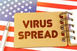 National medicine concept. On the US flag lies a notebook with the inscription - VIRUS SPREAD