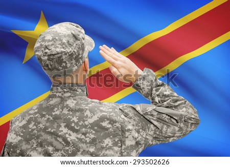 National military forces with flag on background conceptual series - Congo-Kinshasa
