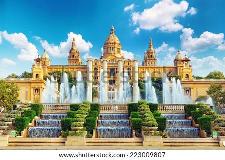 Shutterstock National Museum in Barcelona,Placa De Espanya,Spain.