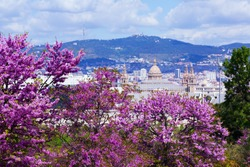 National Palace of Montjuic in spring day. Barcelona, Catalonia
