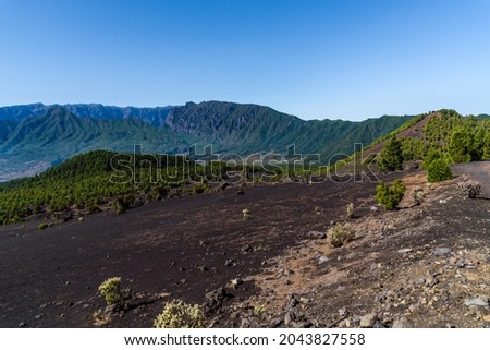 National Park of Caldera de Taburiente from Llano del Jable Astronomical Viewpoint, Cumbre Vieja Volcano. Volcanic landscape with Canarian Pine Trees Forest, Pinus canariensis. Volcano of San Juan and Foto stock ©