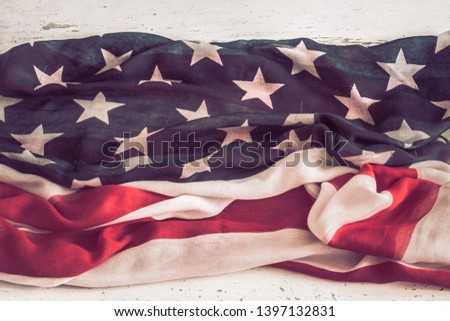 National Patriotic symbols. American flag on old white wooden background.The concept of patriotism and celebration #1397132831