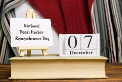 National Pearl Harbor Remembrance Day of winter month calendar december.