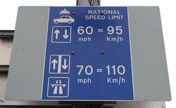 National Speed Limit Sign, UK Ferry Port