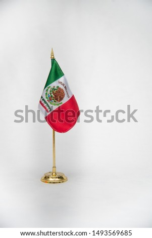national symbols, shield and colors of the flag of Mexico, green white and red, emblems of three Mexican colors, white background  #1493569685