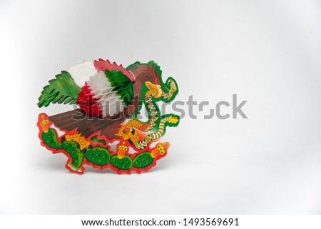 national symbols, shield and colors of the flag of Mexico, green white and red, emblems of three Mexican colors, white background  #1493569691