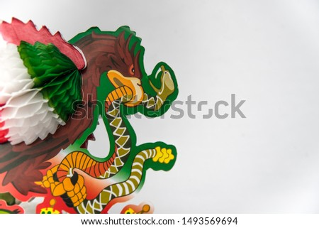 national symbols, shield and colors of the flag of Mexico, green white and red, emblems of three Mexican colors, white background  #1493569694