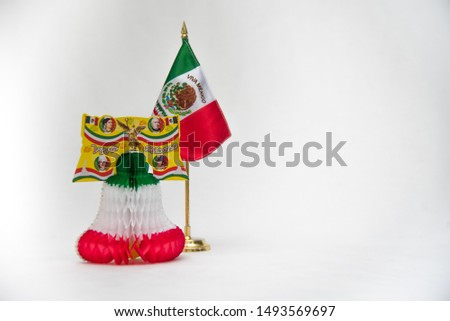 national symbols, shield and colors of the flag of Mexico, green white and red, emblems of three Mexican colors, white background  #1493569697