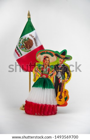 national symbols, shield and colors of the flag of Mexico, green white and red, emblems of three Mexican colors, white background  #1493569700