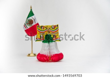 national symbols, shield and colors of the flag of Mexico, green white and red, emblems of three Mexican colors, white background  #1493569703