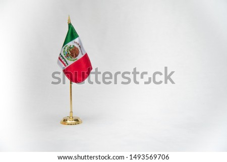 national symbols, shield and colors of the flag of Mexico, green white and red, emblems of three Mexican colors, white background  #1493569706