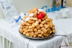 National Tatar and Bashkir Sweet Chak-Chak Dessert at Wedding Banquet table