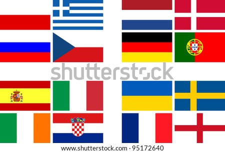 National team flags European football championship 2012. Flags from all 16 participating countries, sorted according to groups