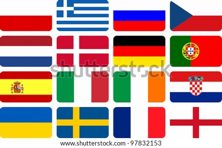 National team flags European football championship 2012. Flags from all 16 participating countries, sorted horizontally according to groups