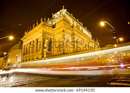 National Theater in the night with trams