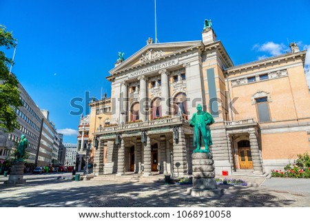 national theatre in oslo in a...