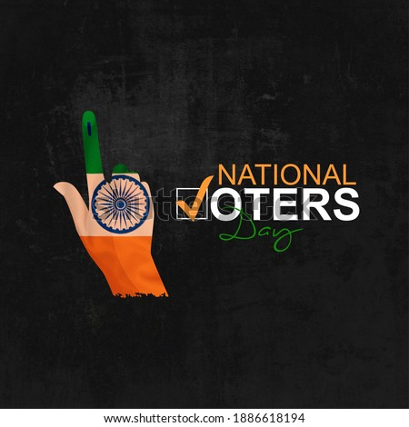 National Voters' Day India National Flag color hand shape for greeting, social media posting, meme, sticker, profile photo design. January 25 India National Voters day.