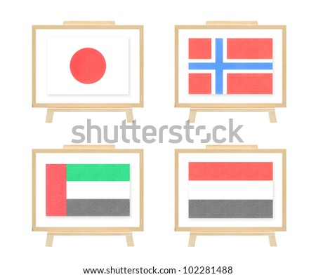 Nations flag japan norway united arab emirates yemen by cork board on isolate (clipping path)