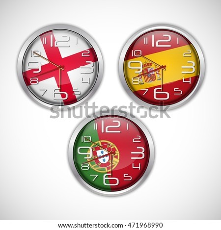 Nations wall clocks of flag Stock fotó ©