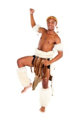 native african man dancing in studio