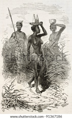 Native african woman old engraved portrait (Nouers tribe, lake Victoria surroundings). Created by Neuville and Hildibrand, published on Le Tour du Monde, Paris, 1867