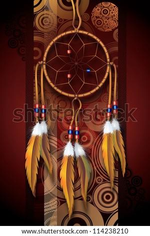 Native American Art Background Illustration. Dark Brown-Burgundy Circles Background and Dreamcatcher. Vertical Design.
