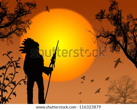 Native american chief on beautiful sunset background