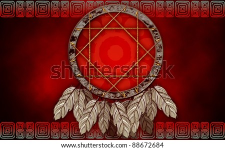 Native American dream catcher on red background