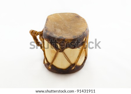 Native american drum isolated on white
