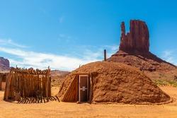 Native american hogans in Navajo nation reservation at Monument Valley, Arizona, USA