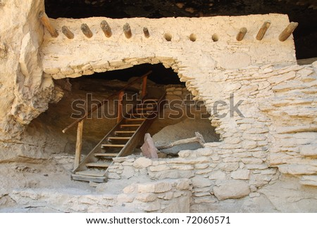 native american indian cliff dwelling exterior and door at Gila Cliff Dwellings National Monument - stock photo