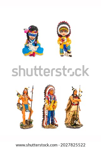Native American Indian figurines isolated. Figurines of native american indians