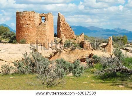 native american indian ruins made of orange rock bricks