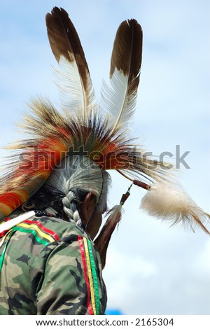 Native american man at Pow-Wow - stock photo