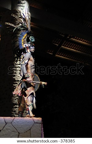 Native American (maya) performer in Xcaret amusement park, Yucatan, Mexico