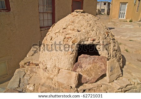 Native American outdoor oven in Sky City, the Acoma Pueblo, New Mexico, USA